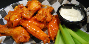 Chicken Wings served at  Octane Adrenaline Bar with blue cheese and celery