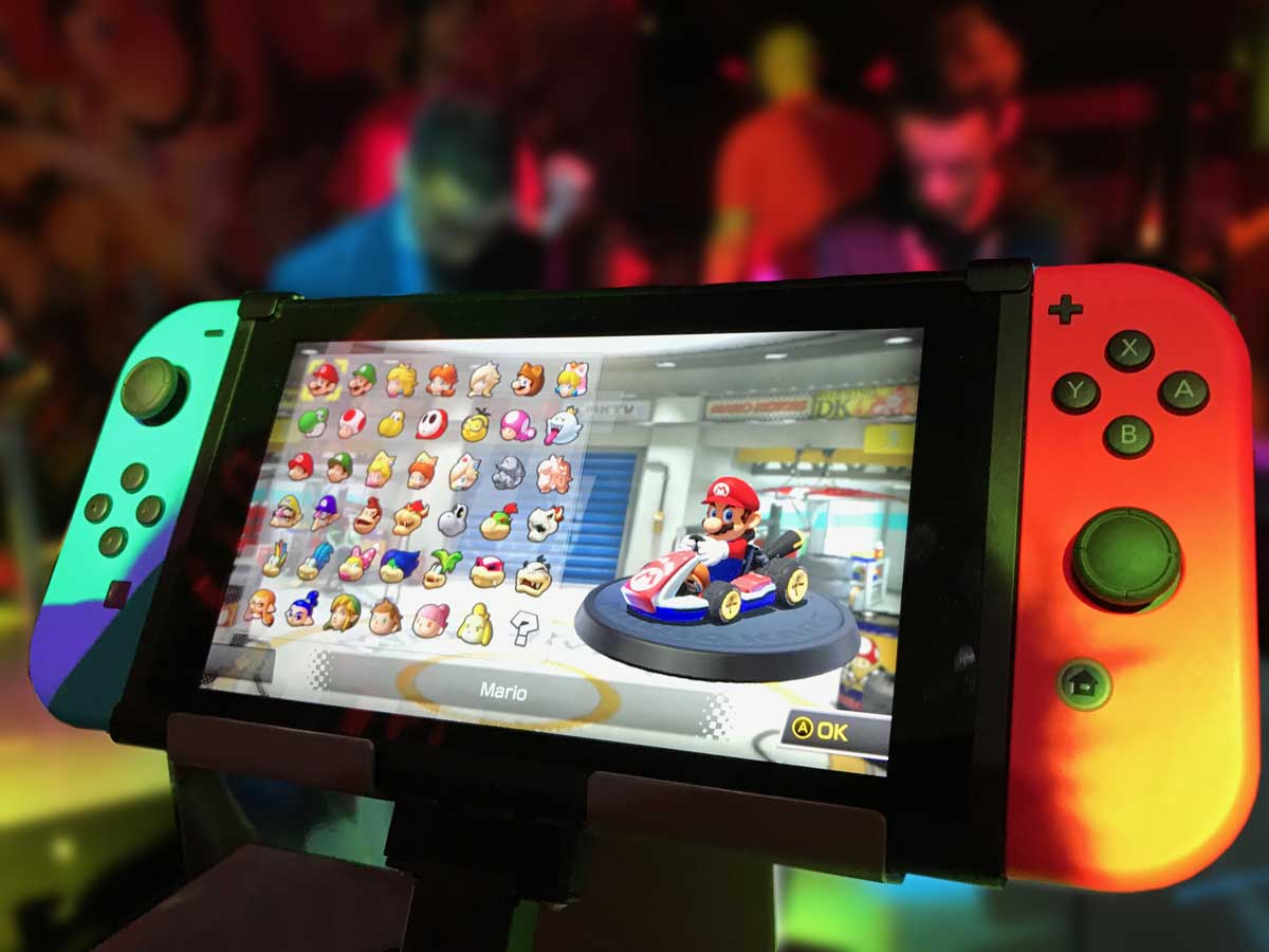 online gaming using a nintendo switch to play mario cart racing